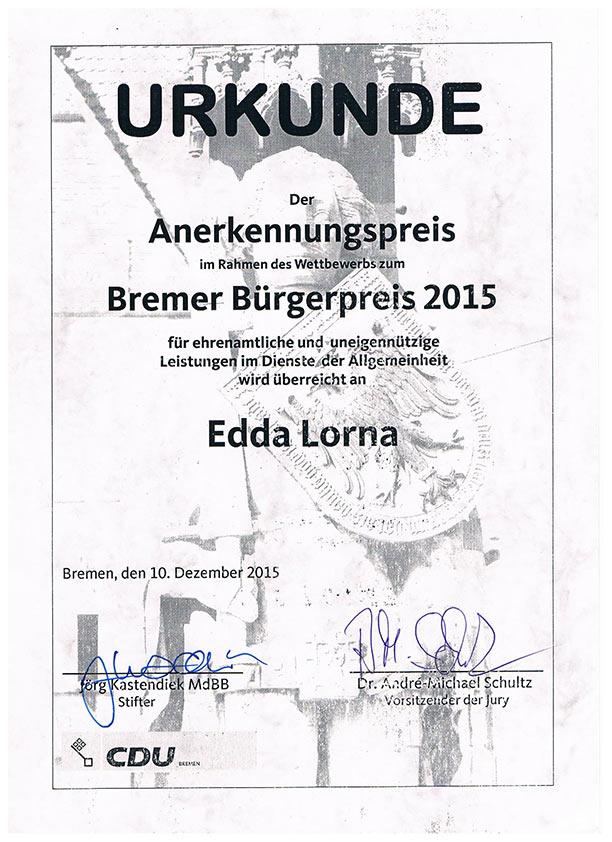 Urkunde Bremer Bürgerpreis 2015 | Edda Lorna