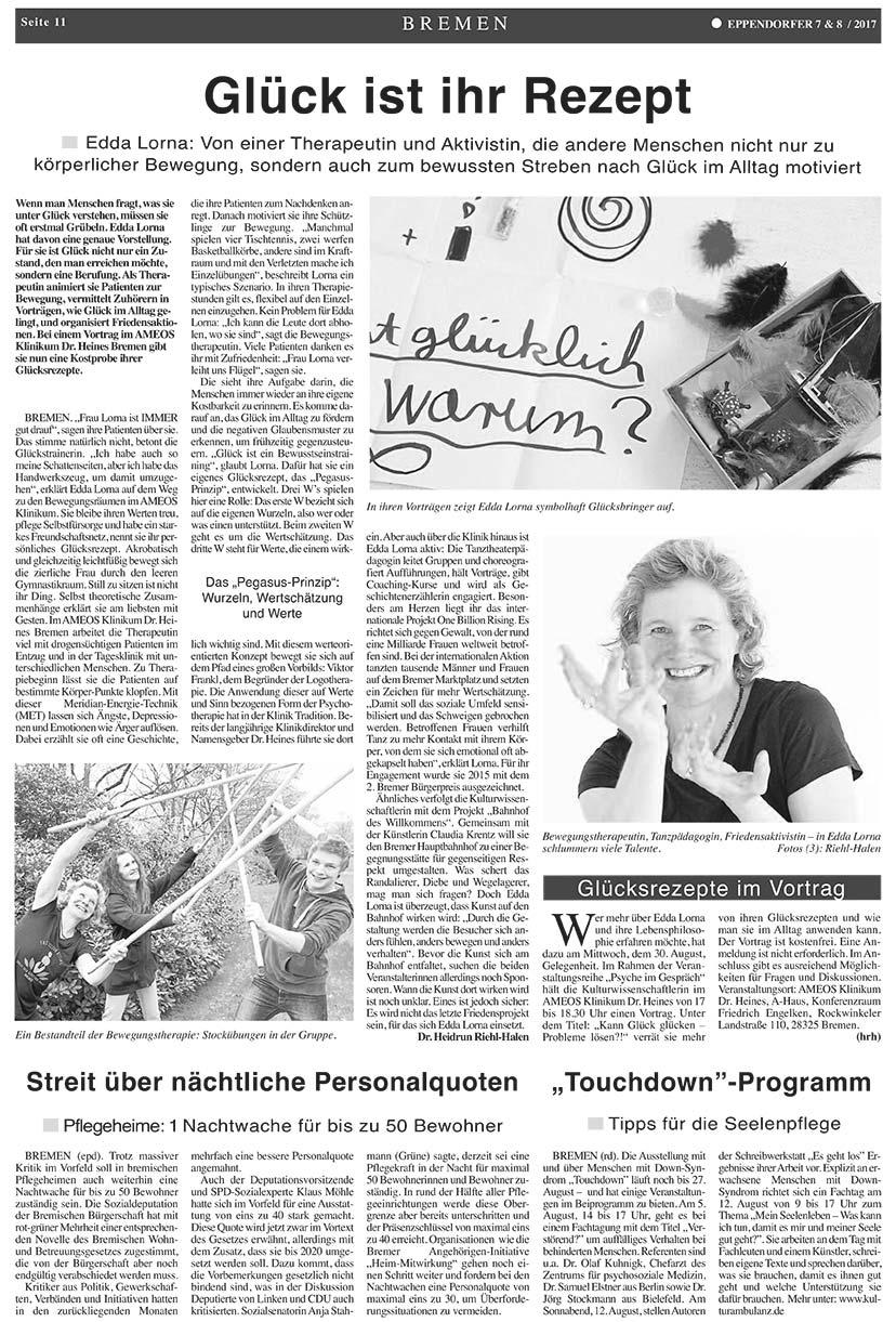 Zum Glück - Edda Lorna bei Eppendorfer, Zeitung für Psychatrie & Soziales
